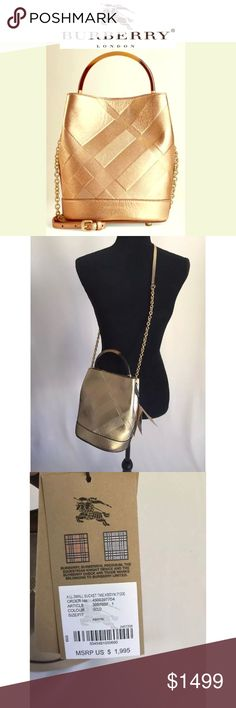 """Burberry Bucket Leather Gold Handbag NWT 
