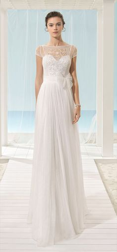 Lightweight dress with beaded embroidery bodice, soft tulle skirt, boat neckline and beaded back, in natural. Sparkly Wedding Gowns, Lace Bodice, Silk Chiffon, Beaded Embroidery, Bridal Style, Bridal Dresses, Beautiful Dresses, Tulle, Neckline