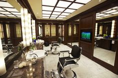 upscale barber with rich decore - really good ideas to inspire your barber shop and barber shop furniture