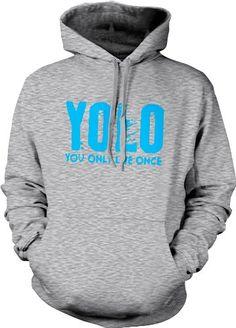 YOLO Neon Blue Design You Only Live Once Mens Sweatshirt Hot Trendy Lyrics Design YOLO Y.O.L.O Pullover Hoodie Medium Lt-Gray