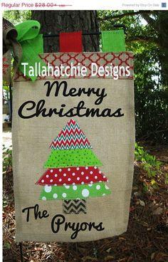 Christmas Flags, Christmas Tree Garden Flag Holiday Yard Flag, Burlap  Christmas Flag  Personalized Flag Christmas Flags