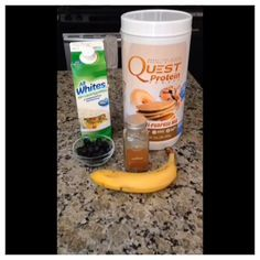 scoop of baking protein powder (I like Quest's). Directions: Mash banana with fork. Add egg whites protein powder blueberries and cinnam Quest Protein Powder, Egg White Protein Powder, Baking With Protein Powder, Protein Powder Pancakes, Protein Powder Recipes, Protein Recipes, Ideal Protein, High Protein, Pancake Proteine
