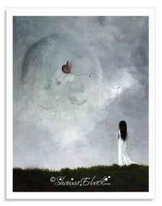 I called this piece She Releases You. The heart and moon are frosted over just like her heart until she was ready to let go. Now everything's ok. Are you a dreamer? Use code DREAMER in my Etsy shop to save 15% on the signed art print. 8x10 prints are ready for immediate shipping and all come right from my own home studio.