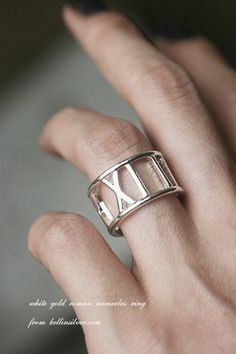White Gold Roman Numerals Ring from kellinsilver.com
