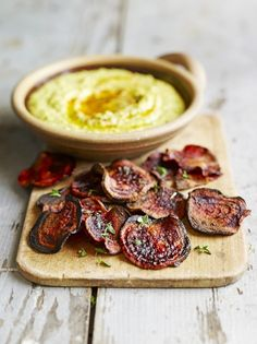 Beetroot crisps with coriander houmous | Jamie Oliver