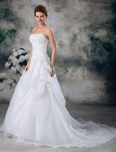 Abito da sposa bianco organza senza spalline vestito da ballo strascico - Milanoo.com