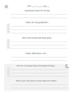 Adapted Five Minute Journal Template (PDF) – Beautiful Life Apps Journal Prompts For Teens, Gratitude Journal Prompts, Bullet Journal Ideas Pages, Journal Pages, Journals, Study Journal, Notebooks, 5 Minutes Journal, 5am Club