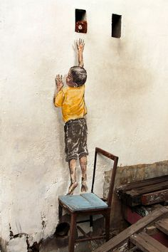 Reaching Up - Ernest Zacharevic, Penang