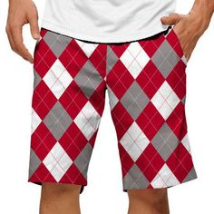 Red & Grey & White Argyle Mens Golfing Shorts by Loudmouth Golf.  Buy it @ ReadyGolf.com