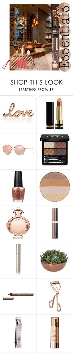 """""""Let's Makeup"""" by lori437 ❤ liked on Polyvore featuring beauty, Home Design Studio, Gucci, Ray-Ban, OPI, Jane Iredale, Paco Rabanne, Physicians Formula, BeYu and Tweezerman"""