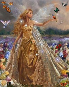 Magical Day [woman in golden princess dress with silvery fairy wings surrounded by butterflies and birds and fields of flowers]