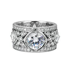 18K White Gold Semi-Mounting By Jack Kelege Features 2.04 Carats Of Round Diamonds.