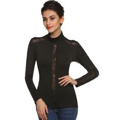 Women Casual Blouse Long Sleeve Lace Splicing Slim Pullover Top Bottoming Shirt