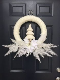 The Chic Technique: White Christmas Wreath Flocked Christmas Wreath by PinkLimeWreaths