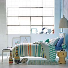 Hiccups Festival Stripe Blue Quilt Cover