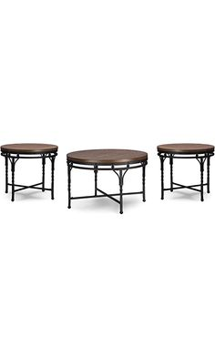 Wholesale Interiors 3 Piece Baxton Studio Austin Vintage Industrial Round Coffee Cocktail Table & End Tables Occasional Table Set, Antique Bronze Best Price