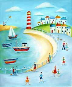 Ileana Oakley - harbour scene lighthouse boats.jpg