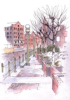 Brewery Wharf, Leeds riverside path ~ sketch ~ John Edwards