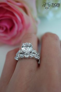 2 Carat Center, 4 ctw Wedding Set, Baguette Accented Bridal Rings, Man Made Diamond Simulants, Engagement Rings, Wedding, Sterling Silver