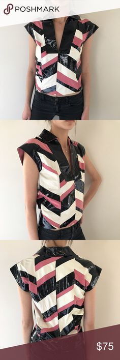 Vintage Gucci leather top Patchwork in real leather and suede combo Gucci Tops Blouses