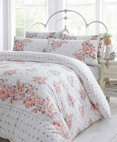 CORAL PINK & LILAC FLOWERS - SUPER KING SIZE - DUVET QUILT COVER BED SET: Amazon.co.uk: Kitchen & Home