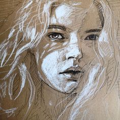 Love that shadow that the hair is casting onto the face! Really creates dimension. Also once again love toned paper