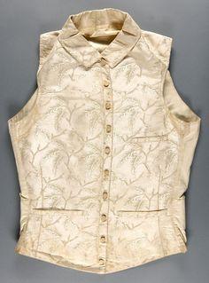 Man's waistcoat, c. 1870, American: cream-figured silk (Philadelphia Museum of Art collection)