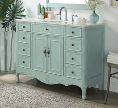 It may sound odd but shabby chic furniture is highly in demand these days. You must be thinking that how can something chic and elegant be shabby. However, that seems to be the current trend and most people are opting to go for furniture of that kind. Shabby Chic Bleu, Vanity Shabby Chic, Shabby Chic Living Room, Shabby Chic Bedrooms, Shabby Chic Kitchen, Shabby Chic Homes, Shabby Chic Furniture, Bathroom Furniture, Shabby Chic Decor