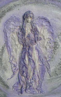 Fialový anjel pre Mirka máj 2015, 55 cm, powertex