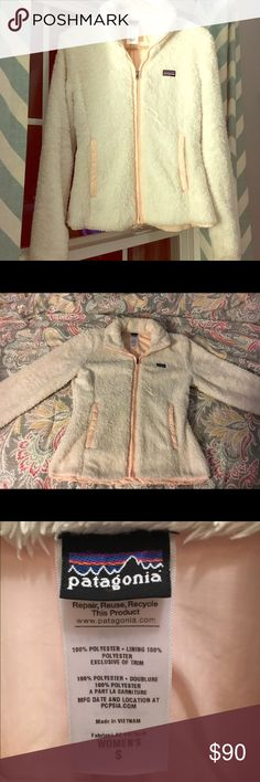 Patagonia Jacket Small (will fit small frame medium) white Patagonia jacket like new only wore maybe 3 time to tight for my now love the jacket it is so.. Soft but time to make space in my closet and part my ways with it. 😪 there are no signs of wear or stains. Patagonia Jackets & Coats