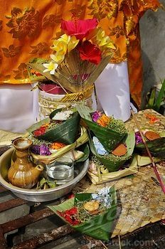 Sacrificial offerings to the gods, Denpasar, Bali, Indonesia, ❀  Bali Floating Leaf Eco-Retreat ❀ http://balifloatingleaf.com ❀