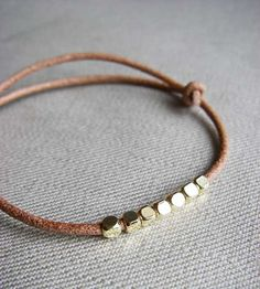 Girls Gold-Beaded Leather Bracelet (Adjustable)