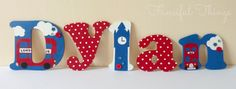 British London Theme Wooden Wall Letters for by FancifulThingsEtsy  #Caredotcom  #RoyalNursery