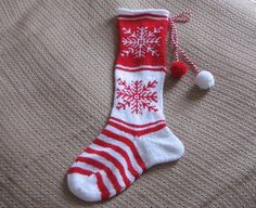 Christmas Stocking with Red and White Snowflakes