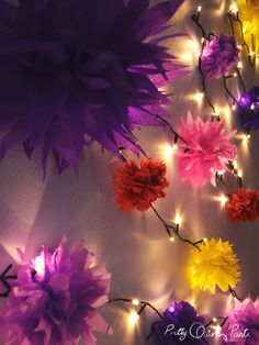 full tutorial for making your own paper flower fairy lights on Pretty Quirky Pants