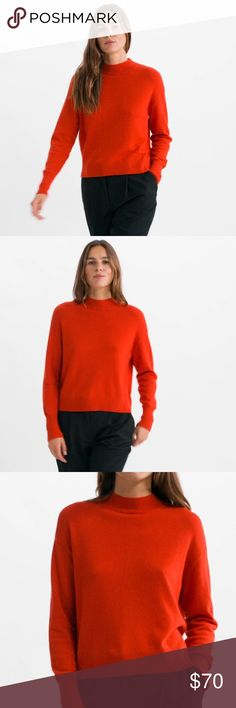 IN SEARCH OF EVERLANE The Cashmere Crop Mockneck IN SEARCH OF EVERLANE The Cashmere Crop Mockneck  In size small, medium and large  In color persimmon Everlane Sweaters Cowl & Turtlenecks
