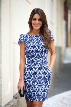 Camila Coelho - porcelain print blue dress