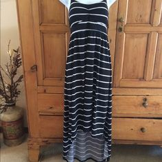 Black and White High/Low Striped Sundress Black and white striped high/low sundress with adjustable straps. Never worn brand new condition. Polyester/spandex blend. Padded bust. No Boundaries Dresses High Low
