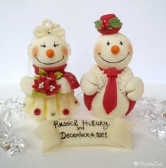 Snowman wedding cake topper with personalized by PerlillaPets