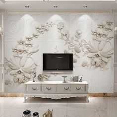 Wall Mural Custom Wallpaper For Walls 3 D European Style Solid Color Abstract Stereoscopic Relief Flower Wall Papers Home Decor Custom Wall Murals, 3d Wall Murals, Wall Stickers Murals, Wall Art, Dining Room Wallpaper, Wall Wallpaper, European Home Decor, European Style, Photo Mural