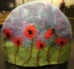 Wooly poppies felted tea cozy