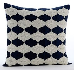 Decorative Throw Pillow Covers Accent Pillow Couch Toss Sofa Pillow Case 16x16 Navy Blue Silk Pillow Cover White Bead Embroidered Aladdin