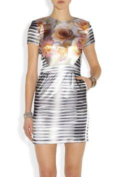 Aminaka Wilmont Printed stretch-satin dress NET-A-PORTER.COM