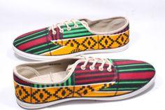 www.cewax.fr aime ces basket de style ethnique afro tendance tribale tissu wax africain Sneakers african prints ankara Kenté muticolore jaune et rouge