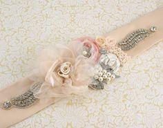 Bridal Sash- Sash in Nude, Latte, Ivory and Blush with Pearls, Pearl Brooch and Crystals. $230.00, via Etsy. Pink Champagne Wedding, Bridal Sash, Pearl Brooch, Latte, Blush, Ivory, Nude, Pearls, Crystals