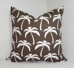 OUTDOOR Brown/White Palm Tree Pillow Cover Palm by HomeLiving
