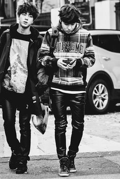 Bangtan Boys ❤ Seokjin (jin) & Hoseok (jhope) | love the leather pants | tumblr
