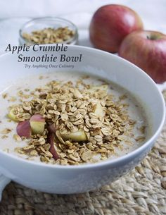 An apple crumble smoothie bowl isn't just for breakfast. Treat yourself to one of these with your significant other after a dinner for two at home. This is a great dessert option if you are watching what you eat.