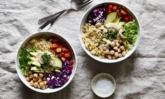 Image credit: Julia GartlandAssemble your hippie bowls! Add about 1/3 cup of each ingredient: quinoa, red cabbage, chickpeas, roasted herb carrots and frisee to each bowl. Add 1/4 of a sliced avocado, drizzle with tahini sauce and season with sea salt and pepper. Serve warm (but it's also great cold!)..