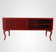 Bufê Cabriolet Vermelho e com portas ripadas  de correr é maravilhoso! Para comprar no site www.movemovel.com.br